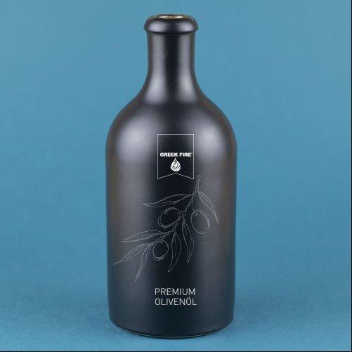 Greek Fire Keramikflasche zum Auffüllen mit Ausgießer für Öle
